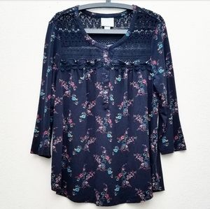 Maeve Navy Blue Long Sleeve Floral Smock Top